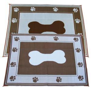 Fireside Patio Mats Doggy Chocolate 9 ft. x 12 ft. Polypropylene Indoor/Outdoor Reversible Patio/RV Mat