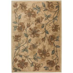 Rizzy Home Bellevue Collection Beige Floral 1 ft. 8 in. x 2 ft. 6 in. Area Rug