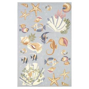 Kas Rugs Sea Life Blue 3 ft. 6 in. x 5 ft. 6 in. Area Rug