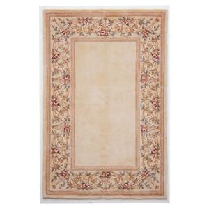 Kas Rugs Lush Floral Border Ivory 5 ft. 3 in. x 8 ft. Area Rug