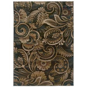 LR Resources Hints of Sage Floral Play 5 ft. 3 in. x 7 ft. 6 in. Plush Indoor Area Rug