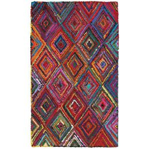 LR Resources Layla Multi 3 ft. 6 in. x 5 ft. 6 in. Plush Indoor Area Rug