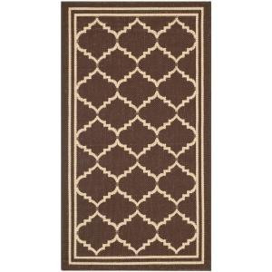 Safavieh Courtyard Chocolate/Cream 2 ft. x 3.6 ft. Area Rug