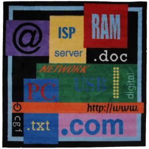 LA Rug Inc. Fun Time Shape Com Multi Colored 51 in. x 51 in. Area Rug