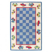 Kas Rugs Cars Blue/Ivory 7 ft. 6 in. x 9 ft. 6 in. Area Rug