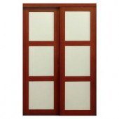 TRUporte 2310 Series 48 in. x 80-1/2 in. Composite 3-Lite Tempered Frosted Glass Composite Cherry Interior Sliding Door