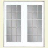 Masonite 72 in. x 80 in. Pure White French Prehung Left-Hand Inswing 15 Lite GBG Smooth Fiberglass Patio Door BM in Vinyl Frame