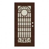 Unique Home Designs Spaniard 36 in. x 80 in. Copper Left-handed Surface Mount Aluminum Security Door with Beige Perforated Aluminum Screen