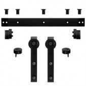 Steves & Sons Matte Black Decorative Barn Door Track and Straps Hardware