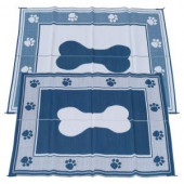 Fireside Patio Mats Doggy Blue 6 ft. x 9 ft. Polypropylene Indoor/Outdoor Reversible Patio/RV Mat