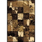 LA Rug Inc. 128/80 Melange Collection, checkered with cream, beige, brown and black colors, 8 ft. x 11 ft., Indoor Area Rug