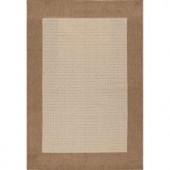 Hampton Bay Brown and Beige Border 5 ft. 3 in. x 7 ft. 4 in. Indoor Outdoor Area Rug