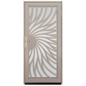 Unique Home Designs Solstice 36 in. x 80 in. Tan Outswing Security Door with Shatter-Resistant Glass Inserts and Satin Nickel Hardware