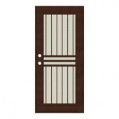 Unique Home Designs Plain Bar 32 in. x 80 in. Copper Right-handed Surface Mount Aluminum Security Door with Beige Perforated Aluminum Screen
