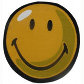 LA Rug Inc. Smiley Yellow 39 in. Round Area Rug