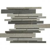 MS International Mystic Grey Interlocking 12 in. x 12 in. x 10 mm Natural Basalt Mosaic Floor and Wall Tile