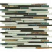 MS International Windsor Canyon Interlocking Glass/Metal/Stone Blend Mesh-Mounted Mosaic Wall Tile