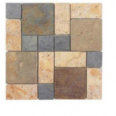 Jeffrey Court Slate Travertine Block Medley 12 in. x 12 in. Wall & Floor Tile