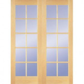 Builder's Choice 48 in. Wood Clear Pine 10-Lite Prehung French Double Door