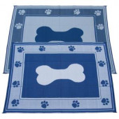 Fireside Patio Mats Doggy Blue 9 ft. x 12 ft. Polypropylene Indoor/Outdoor Reversible Patio/RV Mat