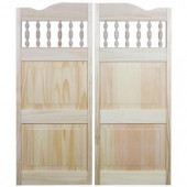 Pinecroft Royal Orleans 36 in. x 42 in. Wood Unfinished Spindle-Top Cafe Door