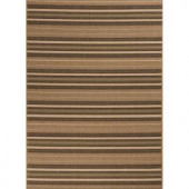 Hampton Bay Green and Brown Stripe 5 ft. 3 in. x 7 ft. 4 in. Indoor Outdoor Area Rug