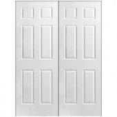 Masonite Textured 6-Panel Hollow Core Primed Composite Double Prehung Interior Door