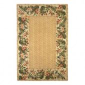Kas Rugs Centered Bamboo Floral Beige 8 ft. 6 in. x 11 ft. 6 in. Area Rug