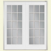 Masonite 60 in. x 80 in. White Prehung Left-Hand Inswing 15 Lite Fiberglass Patio Door with No Brickmold in Vinyl Frame
