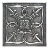 Daltile Massalia Pewter 4 in. x 4 in. Metal Fleur de Lis Wall Tile