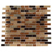 Splashback Tile Golden Trail Blend Bricks 12 in. x 12 in. Marble and Glass Mosaic Floor and Wall Tile