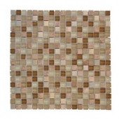 Jeffrey Court Warm Topaz 12 in. x 12 in. Tan Glass Mosaic Tile