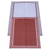 Fireside Patio Mats Cranberry Sunrise 6 ft. x 9 ft. Polypropylene Indoor/Outdoor Reversible Patio/RV Mat