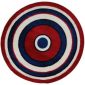 LA Rug Inc. Fun Time Shape Concentric 2 51 in. Round Area Rug