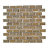 Jeffrey Court 12 in. x 12 in. Hazelnut Butter Crackle Glass Mosaic Tile