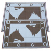 Fireside Patio Mats Chocolate Horseshoe 9 ft. x 12 ft. Polypropylene Indoor/Outdoor Reversible Patio/RV Mat
