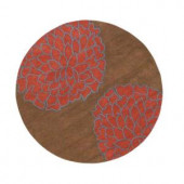 Fantasia Brown/Terra 7 ft. 9 in. Round Area Rug