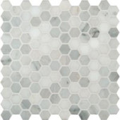 MS International Greecian White Hexagon 12 in. x 12 in. Polished Marble Mesh-Mounted Mosaic Floor and Wall Tile
