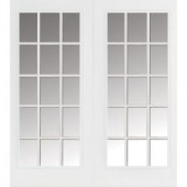 Masonite 60 in. x 80 in. Primed Prehung Left-Hand Inswing 15 Lite Steel Patio Door with Brickmold