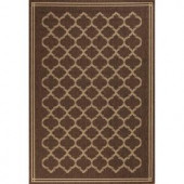 Hampton Bay Dark Brown and Ivory Geo 5 ft. 3 in. x 7 ft. 4 in. Indoor Outdoor Area Rug