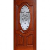 Main Door Mahogany Type Prefinished Cherry Beveled Patina 3/4 Oval Glass Solid Wood Entry Door Slab