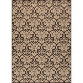 Hampton Bay Black and Beige Floral 7 ft. 7 in. x 10 ft. 10 in. Indoor Outdoor Area Rug