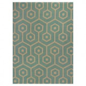 Kas Rugs Eloquent Lines Aqua/Beige 3 ft. 3 in. x 5 ft. 3 in. Area Rug