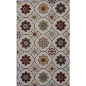 LR Resources Floral, Ivory in. Color, 7 ft. 9 in. x 9 ft. 9 in. Indoor Area Rug