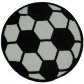 LA Rug Inc. Fun Time Shape Soccerball Black and White 39 in. Round Area Rug