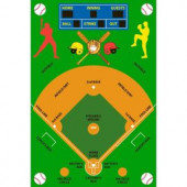 LA Rug Inc. Fun Time Baseball Field Multi Colored 39 in. x 58 in. Area Rug
