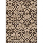 Hampton Bay Black and Beige Floral 5 ft. 3 in. x 7 ft. 4 in. Indoor Outdoor Area Rug