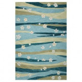 Kas Rugs Water Flowers Blue/Green 7 ft. 9 in. x 9 ft. 9 in. Area Rug