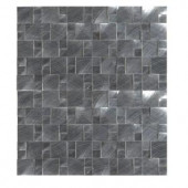 MS International Silver Aluminum Pattern 12 in. x 12 in. x 8 mm Brushed Metal Mosaic Wall Tile
