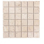 Jeffrey Court 12 in. x 12 in. Cream Travertine Mosaic Tile